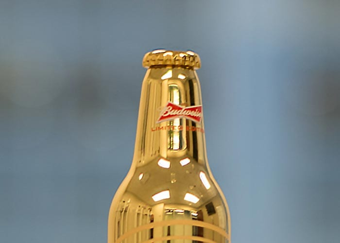 Top of Gold Beer Bottle Product Replica Budweiser Logo