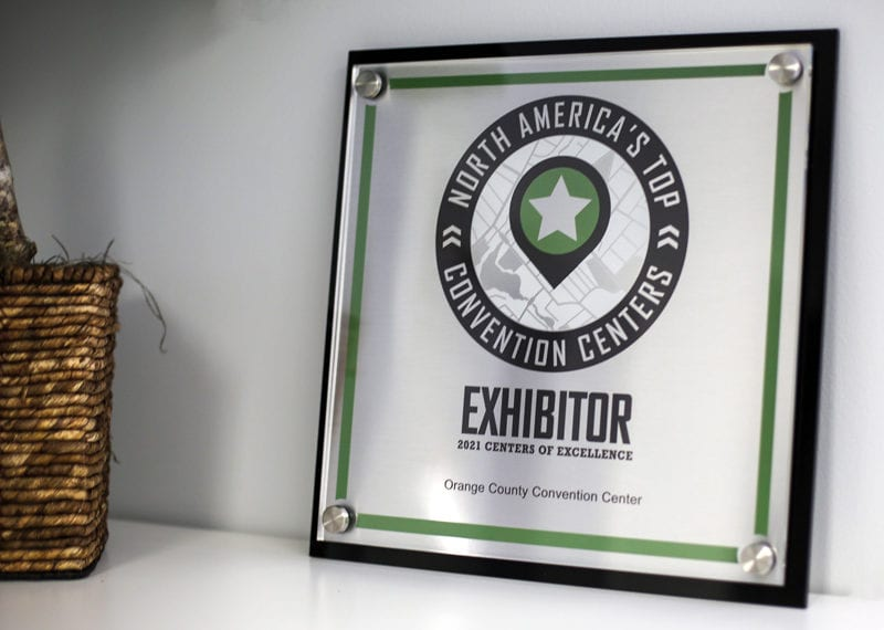 Acrylic and metal wall trophy plaque with digital print personalization