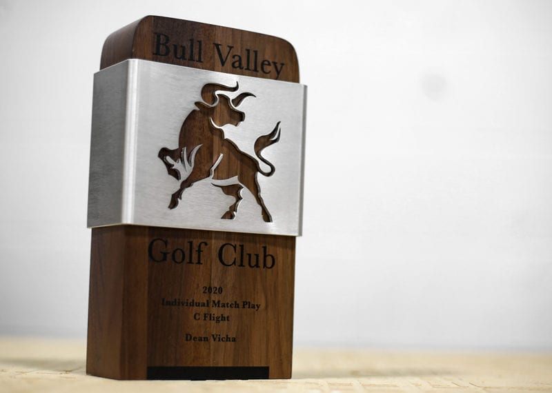 Wood custom trophy with digital print personalization. Metal bull cutout wrapped around the wood