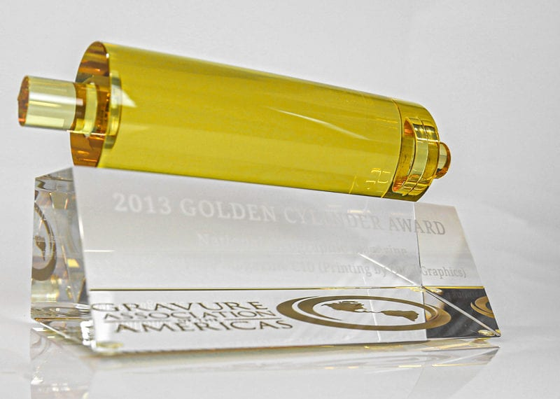 Gold Cylinder Awards Yellow Crystal Sand Etch Base 003